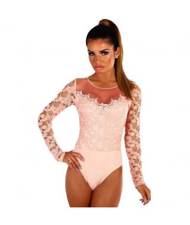 Sexy Lace Bodysuit Women Crochet Mesh Shoulder Long Sleeve Bodysuits Overalls Spring Autumn 2019 Black White Jumpsuit - apri...