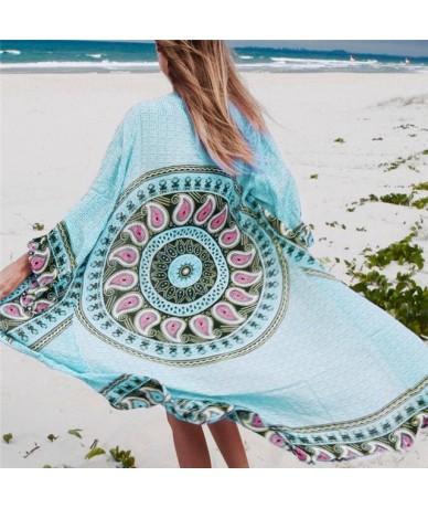 Cotton Tunic Beach Blouses 2019 Print Casual Blouse Plus Size Kimono Bohemian Blouse Vintage Women Summer Blouses N372 - blu...