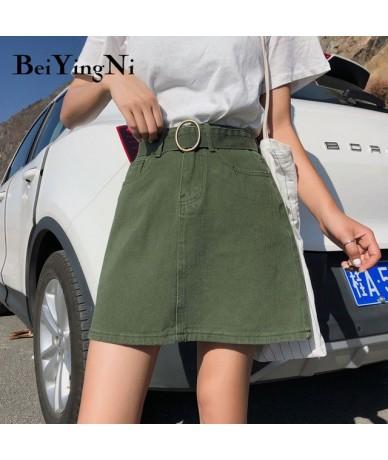 Large Size Summer Belt Jeans Skirts Cowboys L-4XL Korean Cool Black Plus Size Denim Skirt Fashion Solid A Line Skirt - Green...