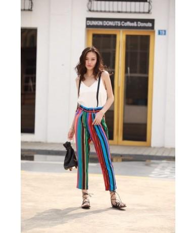 Casual Chiffon Harem Pants Loose Color Striped High Street 2019 Summer Autumn Women Ankle-Length Pants Female Rainbow Pants ...
