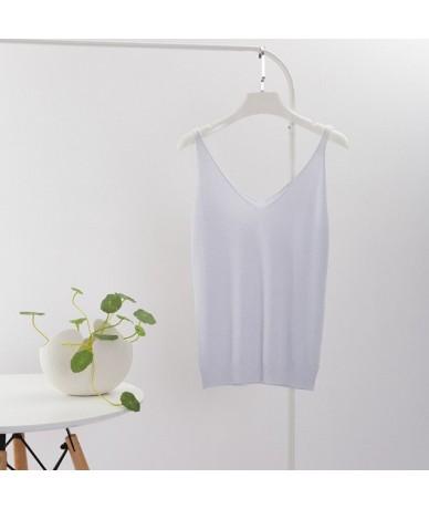 2019 Sexy Knitted Top Tank Women V Neck Sleeveless Vest T Shirt Summer Ladies Slim Strap Short Tops Roupas Femininas - WHITE...