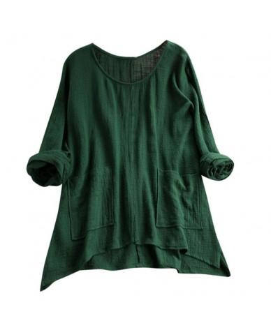 Women's Large Size Tunic Shirt Fashion Ladies Retro Solid Irregular Pocket Blouse Casual Round Neck Long Sleeve Blouse - Gre...