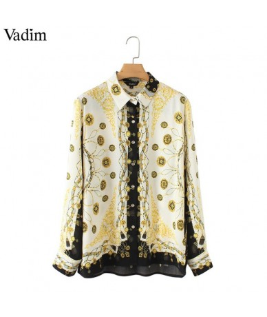 women stylish chains print loose blouses long sleeve turn down collar pleated shirts ladies casual chic tops blusas LA318 - ...