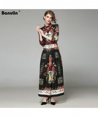 Fashion Runway Long Dresses Autumn Women's Long Sleeve Elegant Black Floral Printed Vintage Maxi Patry Dress B7209 - The pic...