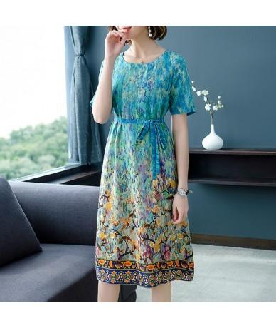 Color Gradient Sashes Women Summer Dress Floral Print A-line High Waist Elegant Casual Womens Dress - Green - 4I4110776673