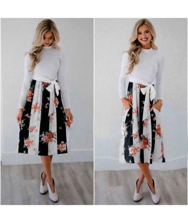 Autumn 2018 Dress Women Casual Patchwork Floral Print Dress Long Sleeve Fashion Beach Dress Sundress Summer Vestidos De Fies...
