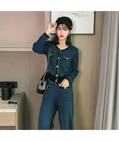 2019 spring fashion knitted two pieces set women's elegant outfits single breasted pocket hit color coat tops + loose pants ...