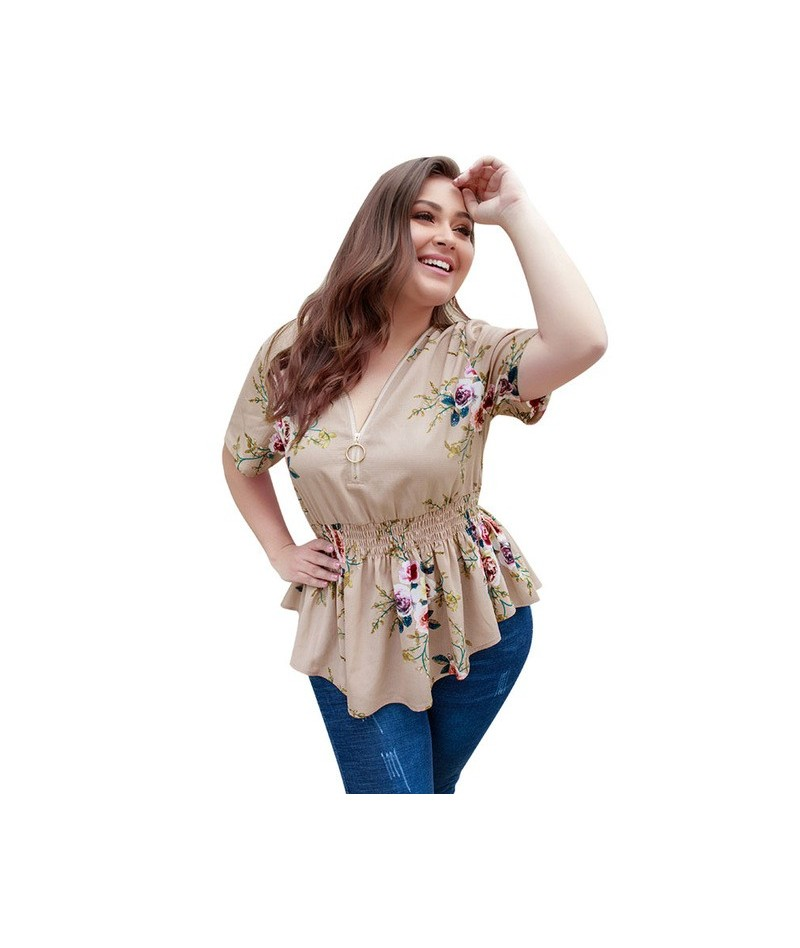 Short Sleeve V-neck Pleated Floral Print Chiffon Blouse Plus Size Women Tops and Blouses Summer Casual Blouse 4XL - Apricot ...