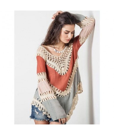Crochet Sexy Pullover Womens Poncho Hollow Out Sweater Women Pull Femme V-Neck Womens Jumpers Bohemia Autumn Capes And Ponch...