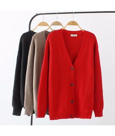 Plus size V-Neck Elastic knitted wool women Cardigan coat 2018 autumn black & red & Khaki ladies sweater female knitwear coa...