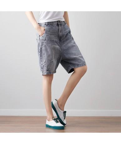 Women Summer Shorts Knee Length Jeans Ladies Vintage Bleached Denim Pants Ladies Denim Trousers 2018 - Gray - 493985511701