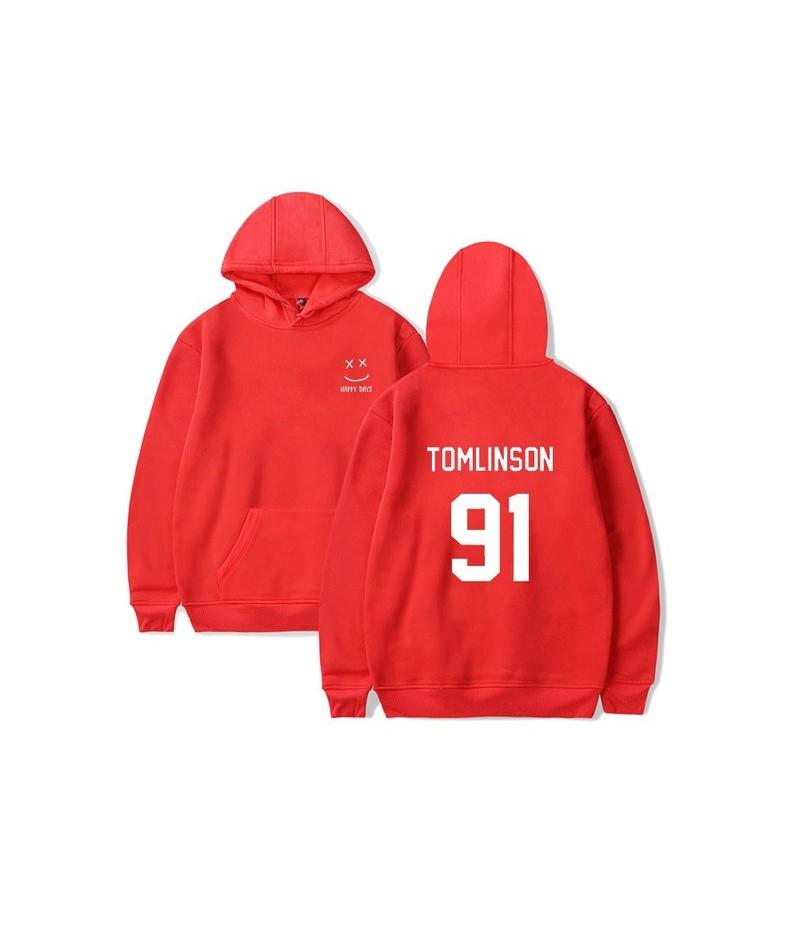 Casual Louis Tomlinson Hoody Hoodies Women Men Unisex Fleece Pullovers Happy Days Sweatshirt Hip Hop Solid Streetwear - red1...