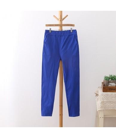High Waist Pants Women Plus Size 3 4 5 XL Casual Slim Elastic Pencil Pants Trousers Black White green Blue Red HS11 - Blue -...