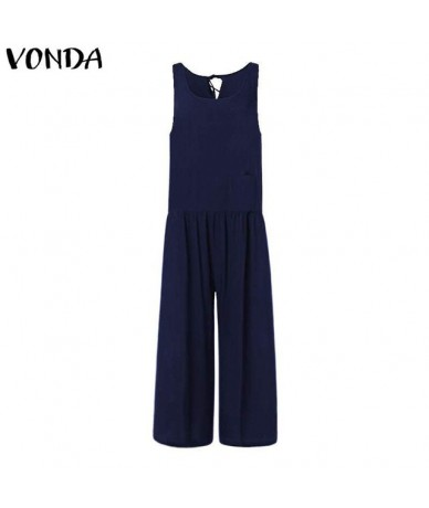 Rompers Womens Jumpsuits 2019 Casual Loose Wide Leg Pants Sexy Sleeveless Hollow Long Playsuits Overalls Plus Size - Blue - ...