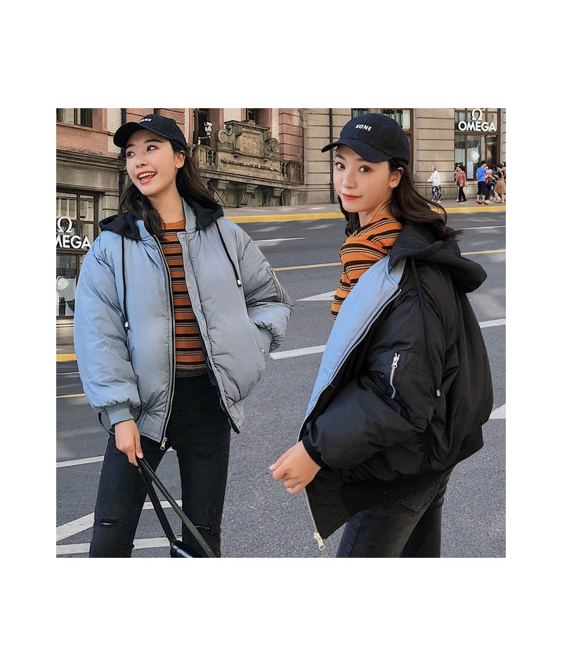 Korean Style 2019 Fashion Winter Jacket Women Hooded Double Two Sides Cotton Padded Female Outwear Parka Ovesized Coat - Bla...