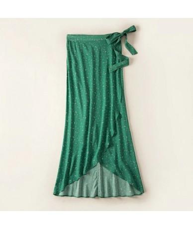 Women Green Flower Print Skirt Romantic Viscose Cross Over Wrap Midi Skirt With Waist Belt - Green - 4A3069697744