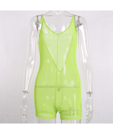 Fashion Neon Mesh Fishnet Playsuits V-Neck Sexy Backless Romper Womens Jumpsuit Hollow Out Overalls Streetwear - neon green ...