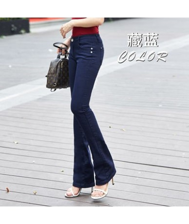 Mom's plus size flare jeans woman street fashion Stretch vintage pants sexy low rise bell bottom jeans slim denim Trousers -...
