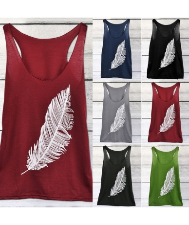 Drop shipping 2019 fashion trend loose casual home women's feather print shoulder vest - Red - 4A4161846803-2
