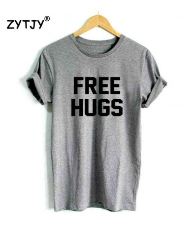 Free Hugs Letters Print Women tshirt Cotton Casual Funny t shirt For Lady Girl Top Tee Hipster Tumblr Drop Ship Z-1095 - Gra...