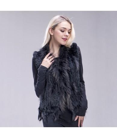 knitted rabbit fur vest raccoon dog fur collar knitted vest rabbit fur waistcoat gilet - middle grey - 493937951863-3