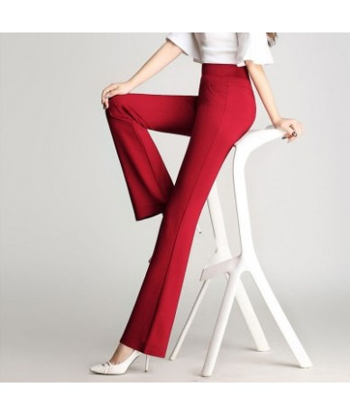 Womens Slim Straight Elegant High Waist Pants Female Long Solid Color Stretchy Flared Pants Plus Size Elastic Band Trousers ...