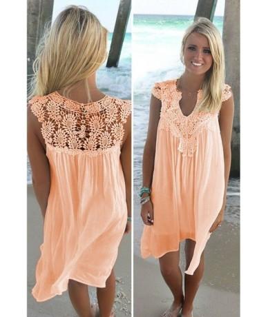 Summer Autumn Lace Dress Women V-neck Loose Dress Sleeveless Casual Beach Dress White Black Ladies Mini Dress - Pink - 4G30...