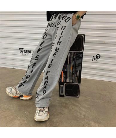 Harajuku Elastic Waist Pocket Women Pants Loose Letter Women Summer Straight Pants Casual Sport High Waist Lady Pants - Gray...