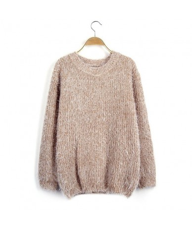 Women Round Neck Long Sleeve Mohair Sweaters Casual Solid Candy Colors Warm Knitting Pullovers Jumper Winter Coat Tops - kha...