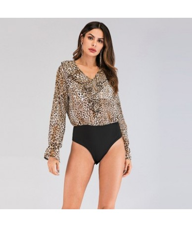 2019 Hot Sale Leopard Bodysuit for Women Sexy Bodycon Skinny Body Suit Turtleneck Long Sleeve Playsuit Printed Romper Jumpsu...