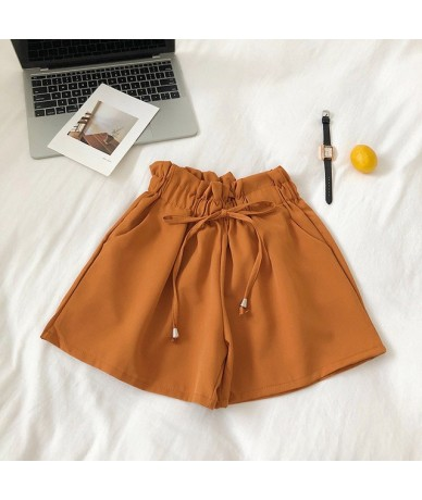 Solid Ruffled Wide Leg Women's Shorts Lace Up Elastic Waist Sports Loose Shorts 2019 Summer NEW ARRIVALS Basic Casual Clothe...