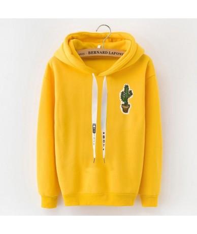S-XXXL Autumn Winter Fleece Harajuku Pullover Solid Thick Loose Women Hoodies Sweatshirts Female Casual Coat - cj43 cactus -...