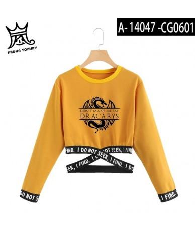 Dracarys Game of Thrones women clothes Dracarys sweatshirt midriff sexy top girl Harajuku TV play yellow RED long sleeve shi...