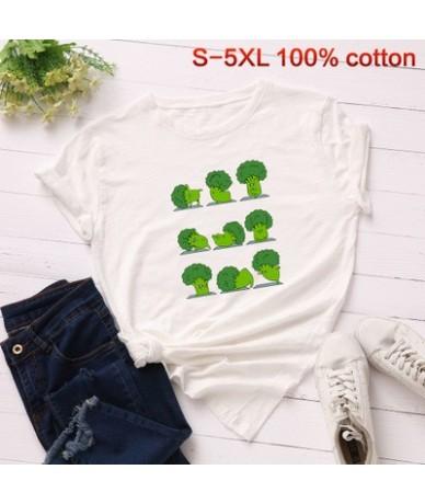 Funny Broccoli Cotton Tee Shirt Women Summer Vegetables Plus Size Basic Tops Multicolor Harajuku Vegan Print t shirt - off w...