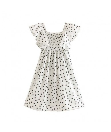 women sweet polka dots print dress ruffles short sleeve elastic female casual mini dresses summer vestidos QC410 - as pictur...