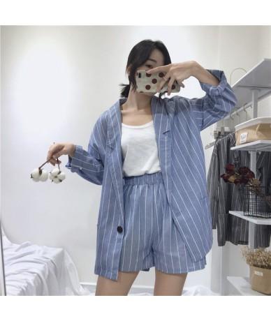 Summer Striped Short Suits for Women Spring Long Sleeve Blazer Jacket & Shorts Casual 2 Piece Sets Feminino Cotton Linen Sui...