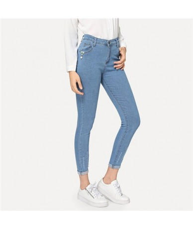 Blue 2019 Solid Ripped Roll-Up Skinny Jeans Woman High Waist Pants Autumn Casual Fashion Button Fly Denim Trousers - Blue - ...