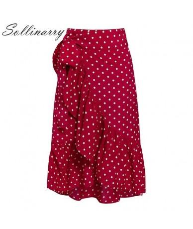 Polka Dot Wrap Ruffle Summer Skirt Women 2019 New Fashion Red Office Sexy Skirt Female High Waist Sash Skirts Elegant - Red ...