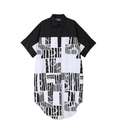 2019 New Spring Summer Lapel Half Sleeve Black Loose Pattern Printed Big Size Shirt Dress Women Fashion Tide JU844 - black -...
