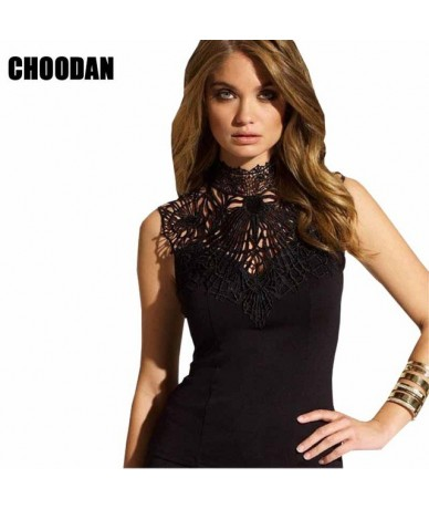 Lace Women Tank Top Turtleneck Summer Fashion 2018 Sexy Backless Vest Female Hollow Out Ladies Shirts Fitness Female Clothin...
