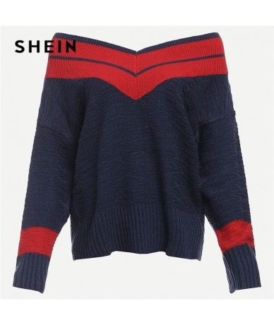 Navy Preppy Highstreet Two Tone Chevron Pattern Colorblock Jumper 2018 Autumn Campus Women Pullovers Sweaters - 4G3020538254