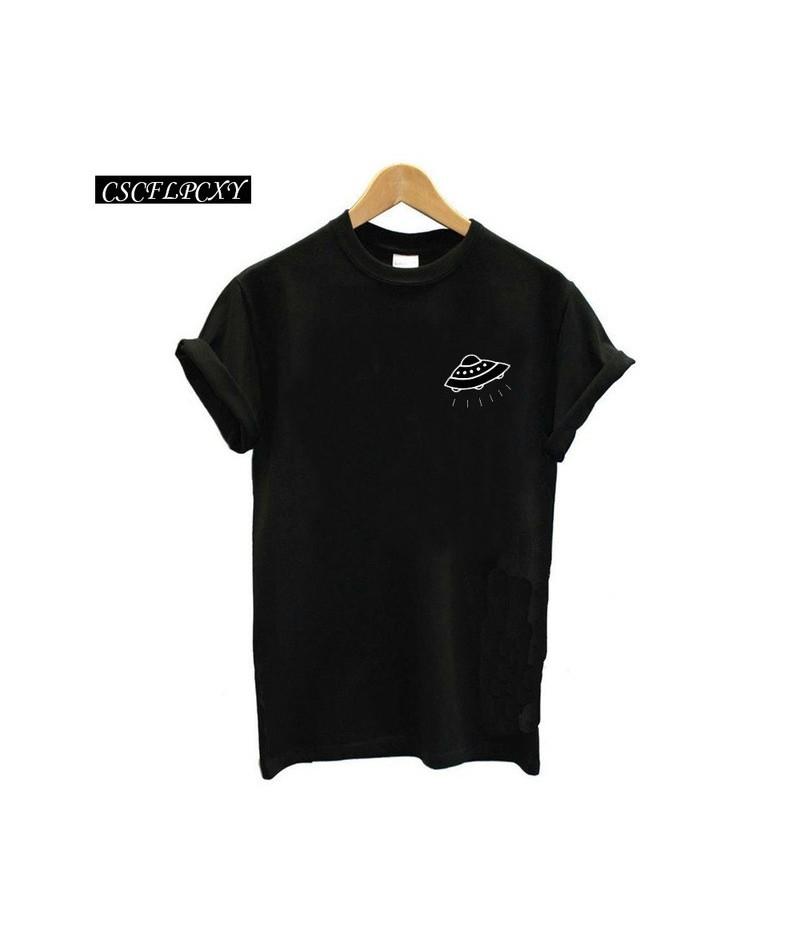 UFO Alien Pocket T-shirt Women 2018 Summer Tumblr T Shirt Women Black White Loose Tee Shirt Femme Tops - 20 - 4K4138729555-17