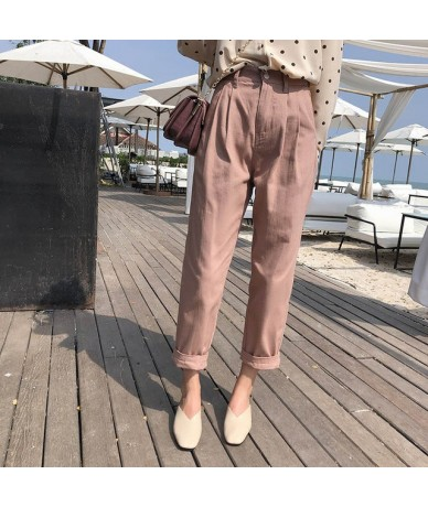 Mishow New Women's Pants 2019 Women Spring Autumn High Waist Wide Leg Pants casual Loose Cropped Trousers MX19A2571 - pink -...