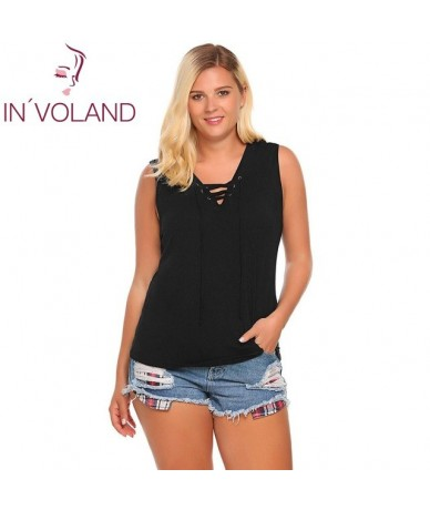 Women Tank Tops Oversized Fashion Sleeveless Camisole Solid Loose Front Lace-Up Fitness Female Beach Camis Plus Size - Black...