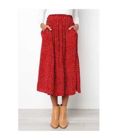 2019 Summer Casual Chiffon Print Pockets High Waist Pleated Maxi Skirt Womens Long Skirts For Women - Red - 4D3086703844-5