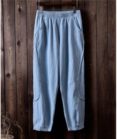 2019 Autumn New Patchwork Women Straight Pants Vintage Cotton Linen Trouser High Quality Elastic Waist Loose Pants - Gray bl...