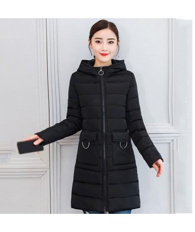 Stand Collar Hooded 2019 Winter Women Jacket Slim Autumn High Quality Outwear Female Coat Long Parka Casaco Feminino Inverno...