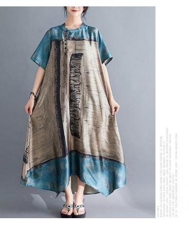 Summer dress 2019 New Literary Vintage loose large size Women dress Printing long Dress Vestidos Robe Elbise - blue - 4P4150...