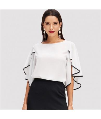 Elegant Split Flounce Sleeve Top Women 2019 Summer Butterfly Sleeve Blouse Office Workwear 3/4 Length Sleeve Blouses - White...