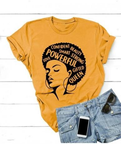 Afro Lady Shirt Women Feminist Tee Girl Power Tshirt Summer Fashion Short Sleeve T-shirt Inspiring Words Letters Printing Co...